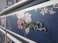 Dark Navy, Antique White, Floral Vintage Dresser