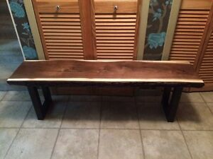 "Solid Live Edge 2"" Thick Black Walnut Hallway Bench  Sarnia Sarnia Area image 1"