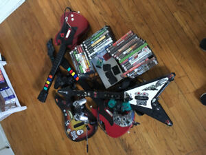 PlayStation 2 games 4 controllers and 4 guitars