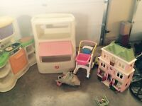 kitchen, bookcase/ stoage unit, doll house and assorted toys