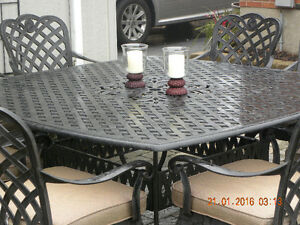 9 PC Dot Cast Aluminum Patio Set