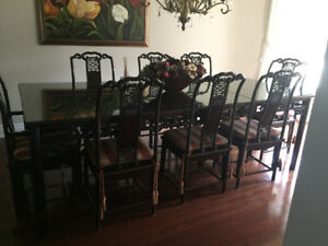 Rosewood Diningroom Table And 2 Glass Wood Cabinets