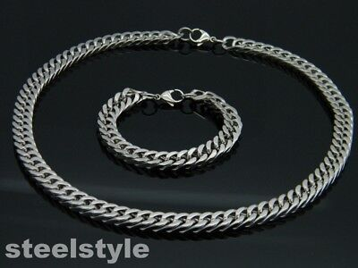 LARGE HEAVY TWISTED LINK CHAIN NECKLACE AND BRACELET SET STAINLESS