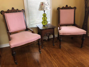Antique parlor chairs and table