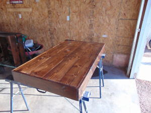 dining table with dark walnut stain