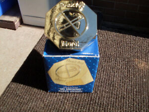 """Vintage Eaton's Gold Plated """"No Smoking"""" Paper Weight New W/ Box"""