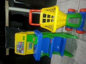 Kids toys store Shopping buggy and checkout station