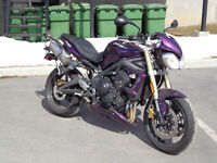 Purple Street Triple With Givi Easylock Saddlebags