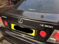 Lexus is200 black 2o2 bootlid boot trunk with spoiler 98-05 breaking spares is 200 is300 altezza