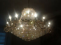 Large antique empire crystal chandelier