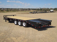 """2015 102"""" x 24ft Load trail tri axle trailer with beaver tails"""