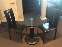 Modern Glass 2 Seat Dining Table & Chairs