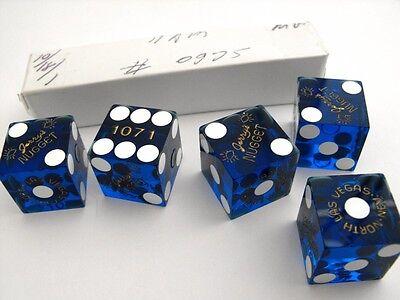 STICK OF 5 JERRYS NUGGET CASINO Vintage Las Vegas Craps DICE BLUE Matching # lot