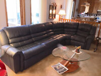 La-Z-Boy 4 Piece Leather Sectional with Sofa Bed