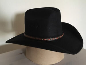 Brand New Black Cowboy Hat With Leather Band