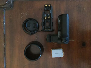 Canon BGE5 battery grip, spare OEM Canon LP-E5 battery + extras