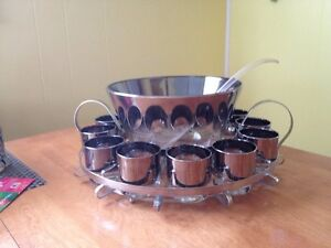 Beautiful Silver Luster Glass Punch Bowl Set with Holder