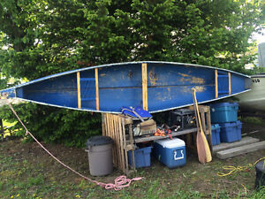 16ft fibre glass canoe with accessories