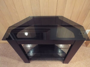 TV Stand - smoked tempered glass