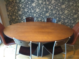 Large Wooden dining Table with metal base