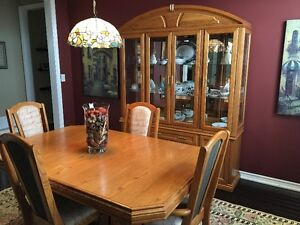 Dining table, 6 chairs and china cabinet