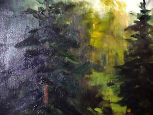 """Original Oil Painting by Blanche Ducharme """"Peaceful Pond"""" 1960's Stratford Kitchener Area image 3"""
