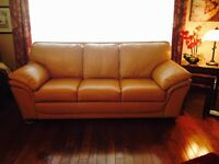 Real leather couch - leather has been treated - like new