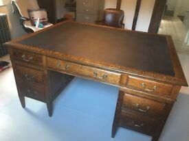 Stunning 1920's Oak Partner Desk