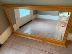 Large rectangular pine mirror