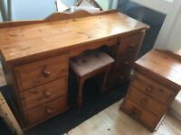Dressing table, small chest of drawers and stool