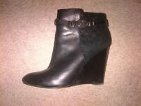 Authentic Coach Suede and Leather Black Ankle Boots - Size 9