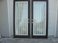 Doors - Steel, Full Light, Built in Security Bar, 80 x 34 inches