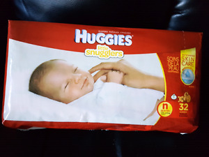 Unopened newborn diapers