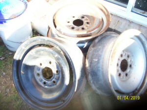 Four 6 bolt steel Chevy rims