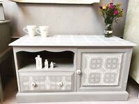 Hand painted tv unit in Paris grey