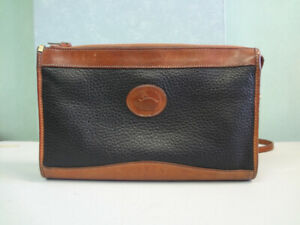 Vintage Dooney and Bourke Navy Blue and Tan Clutch