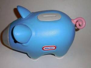 Little Tikes Blue Piggy Money Bank Curly Tail Vintage--Very Rare Para Hills Salisbury Area Preview