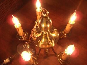 Brass Chandelier with 5 Electric Candle Lights