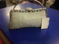 Silver Evening Diamante Hand Bag Beads Evening Clutch Purse Party Wedding Prom