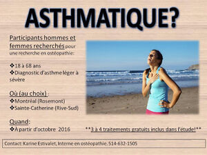 *RECRUTEMENT EN COURS POUR UNE ÉTUDE OSTÉOPATHIQUE SUR LES ASTHM