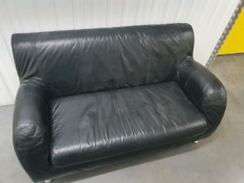Black leather IKEA 2 seater settee