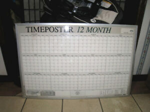 Used 2' X 3' Timeposter 12 month Dry Erase 12  month Calendar