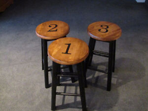 Three refinished counter height stools
