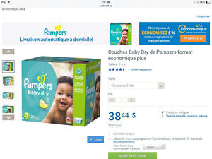 Couches pampers, taille 3, boîte de 204