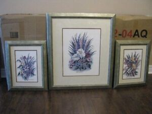 Group of 3 framed floral prints by Katherine Munn