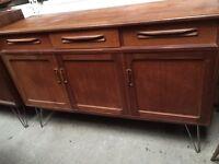 Vintage retro teak wooden G Plan mid century TV cabinet sideboard credenza hairpin legs industrial