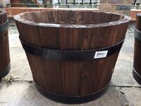Garden Wood Barrel Planter