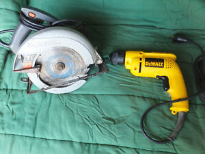 "DeWalt 3/8"" Drill and Skilsaw"