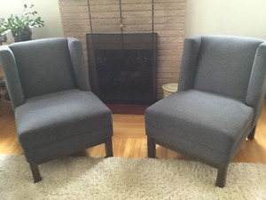 Pay of charcoal grey slipper chairs