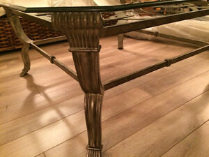 Cast iron coffee table 42 x 42 with bevelled glass -